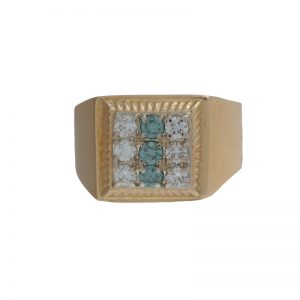 14K Yellow Gold 6 Diamonds & 3 Teal Diamonds Signet Style Ring