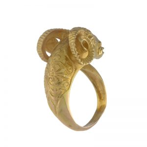 Detailed 18K Yellow Gold Rams Head Ring