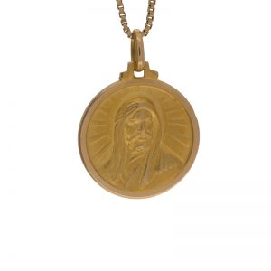 18K Yellow Gold 22mm Double Sided Religious Disc Pendant