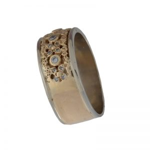 14K Yellow & White Gold 10mm Textured Band w/ Diamonds