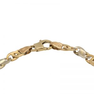 10K Yellow & White Gold 8.5″ Stylized Marine Link Bracelet