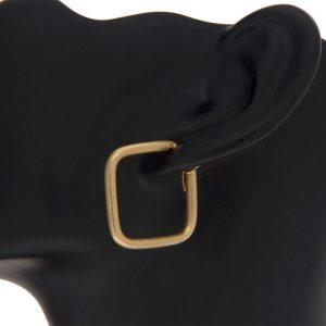 14K Yellow Gold Satin Finish Square Shape Hoop Earrings