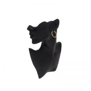 10K Tri-Gold 30mm Satin Finish Lever Back Hoop Earrings