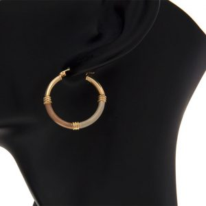 10K Tri-Gold 30mm Satin Finish Lever Back Hoop Earrings