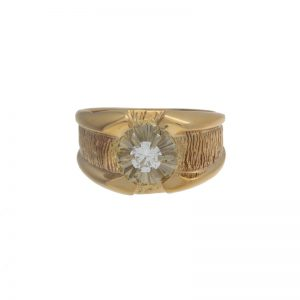 10K Yellow Gold .42CT Diamond Solitaire Rolex Style Ring
