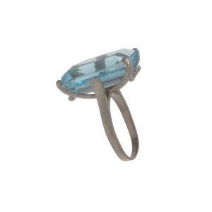 14K White Gold 14.98CT Aquamarine Solitaire Ring