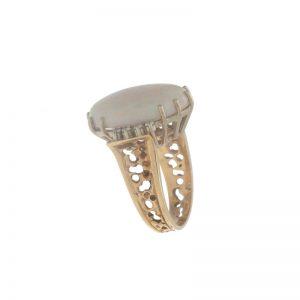 14K Yellow Gold 9.32CT Oval Opal & 8 Diamond Ring