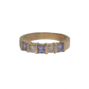 Vibrant 14K Yellow Gold 3 Square Cut Tanzanite & 2 Diamond Band