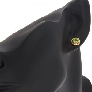 Pair of 14K Yellow Gold 6mm Bezel Set Peridot Stud Style Earrings