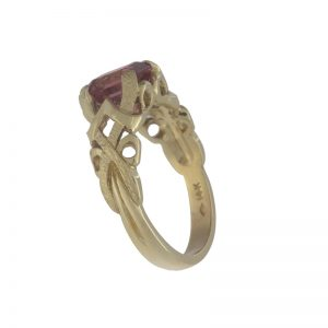 Custom Made 14K Yellow Gold 2.14CT Emerald Cut Pink Tourmaline Ring