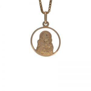 10K Yellow Gold 18mm Religious Disc Pendant