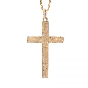 Vintage 9K Yellow Gold 40mm Hollow Floral Engraved Cross Pendant