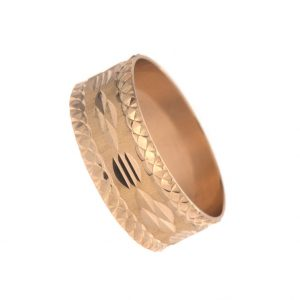 Fancy 18K Yellow Gold 8.7mm Diamond Cut Band Style Ring