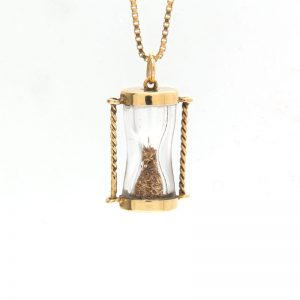 14K Yellow Gold Hourglass Pendant w/ Gold Sand
