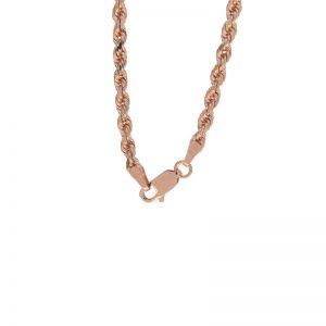 10K Rose Gold 18″ Diamond Cut Rope Link Chain