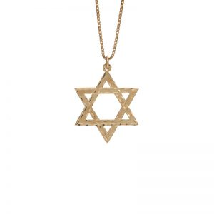 Polished 10K Yellow Gold 32mm Star of David Pendant
