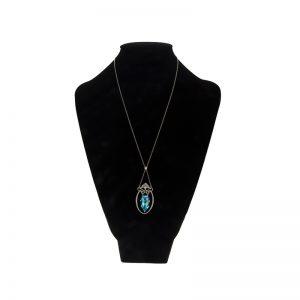 12.03CT Pear Cut Aquamarine & 1.26TDW Diamond Platinum Necklace