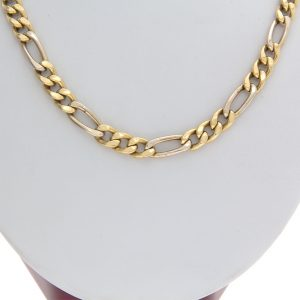 18K Two Tone Gold 20″ Figaro Link Chain