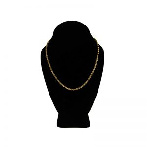 14K Yellow Gold 18″ Solid Diamond Cut Rope Link Chain