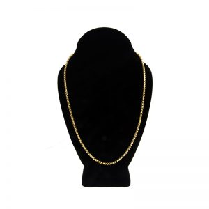 14K Yellow Gold 22″ Hollow Rounded Checker Link Chain
