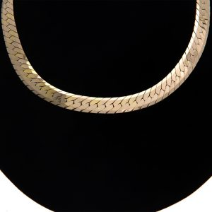 14K Yellow Gold 16″ Heavy Herringbone Necklace