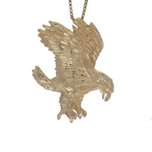 14K Yellow Gold 1.5″ Diamond Cut Eagle Pendant