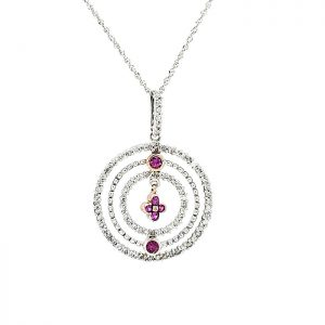 14K White Gold Extendable Necklace & Diamond, Created Pink Sapphire Pendant