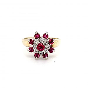 14K Yellow Gold Ruby & Diamond Floral Cluster Ring