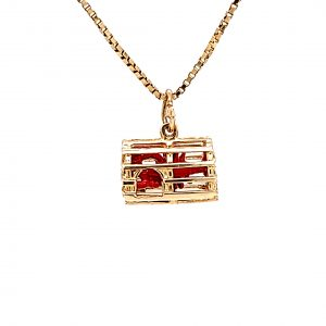 10K Yellow Gold Red Enamel Lobster in Cage Charm/Pendant