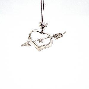 14K White Gold Heart & Arrow Diamond Pendant