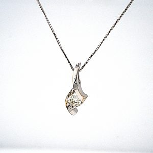 14K White Gold .25CT Round Brilliant Cut Diamond Solitaire Pendant & 18″ White Gold Box Link Chain