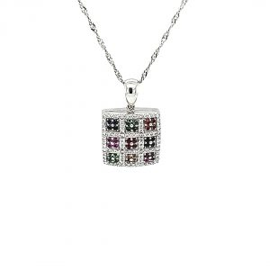 18K White Gold Necklace & Diamond, Multi Coloured Created Sapphire Locket Pendant