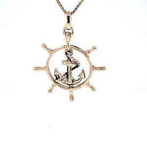10K Yellow Gold 39mm Anchor In Ships Wheel Pendant