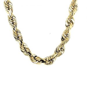 Solid 14K Yellow Gold 20″ Diamond Cut Rope Chain
