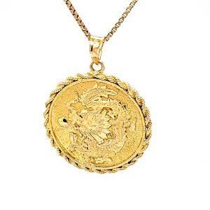 18K Yellow Gold Lucky Dragon Disc Pendant