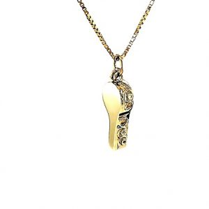 10K Yellow Gold 25mm Working Whistle Charm/Pendant