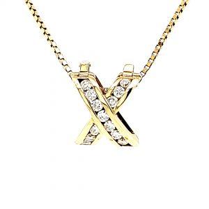 """18K Yellow Gold Diamond """"X"""" Shape Enhancer Slide Pendant"""