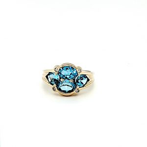 10K Yellow Gold 2 Oval, 2 Pear Shape Blue Topaz & Diamond Accent Ring