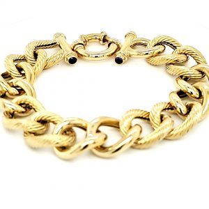 Heavy 18K Yellow Gold 8.5″ Textured Open Curb Link Toggle Bracelet