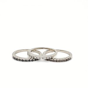 14K White Gold Color Enhanced Diamond Stackable 3 Ring Set
