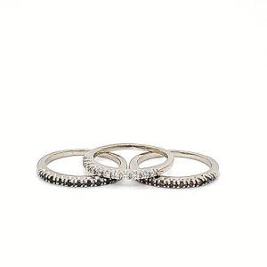 14K White Gold Color Enhanced Diamond Stackable 3 Ring Set