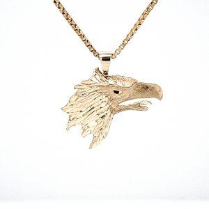 10K Yellow Gold 23mm Diamond Cut Eagle Head Pendant