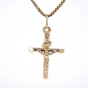 10K Yellow Gold 28mm Crucifix Pendant