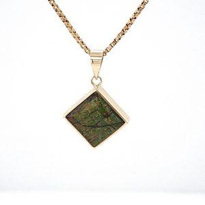 14K Yellow Gold 10mm Square Bezel Set Ammolite Pendant