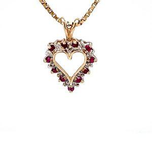10K Yellow Gold Diamond & Ruby Heart Pendant