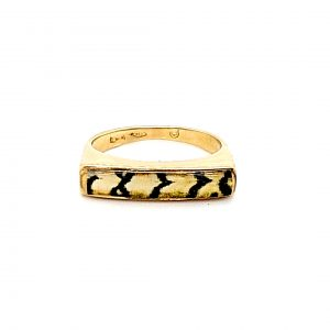 18K Yellow Gold Tiger-Stripe Style Ring