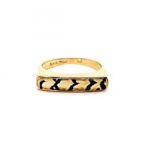 18K Yellow Gold Tiger-Stripe Style Ring