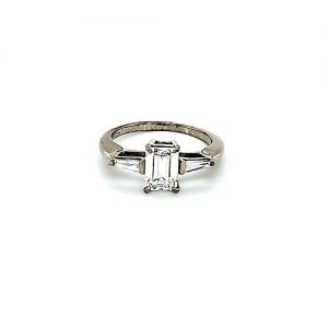 18K White Gold 1.20CT Emerald Cut Diamond Engagement Ring