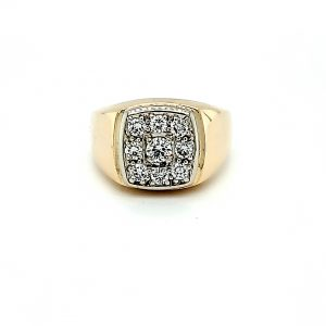 10K -14K Yellow & White Gold 9 Diamond Signet Style Ring