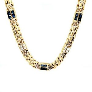 18K Yellow Gold 16″ Curb Link Necklace w/ Blue Sapphires & Diamonds